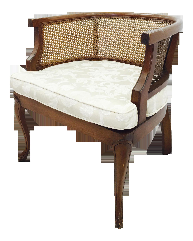 Vintage Mid Century Cane Side Barrel Back Chair