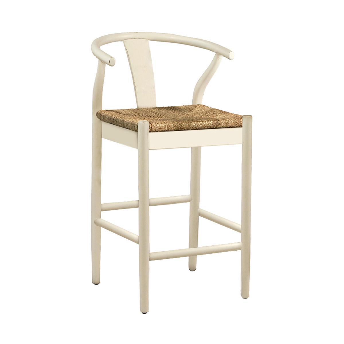 White Woven Oak Counter Stool Chairish