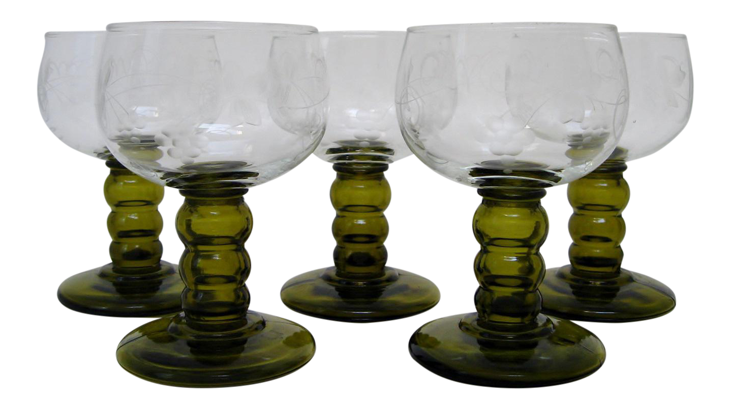 Vintage German Roemer Wine Glasses - Set Of 5  Chairish