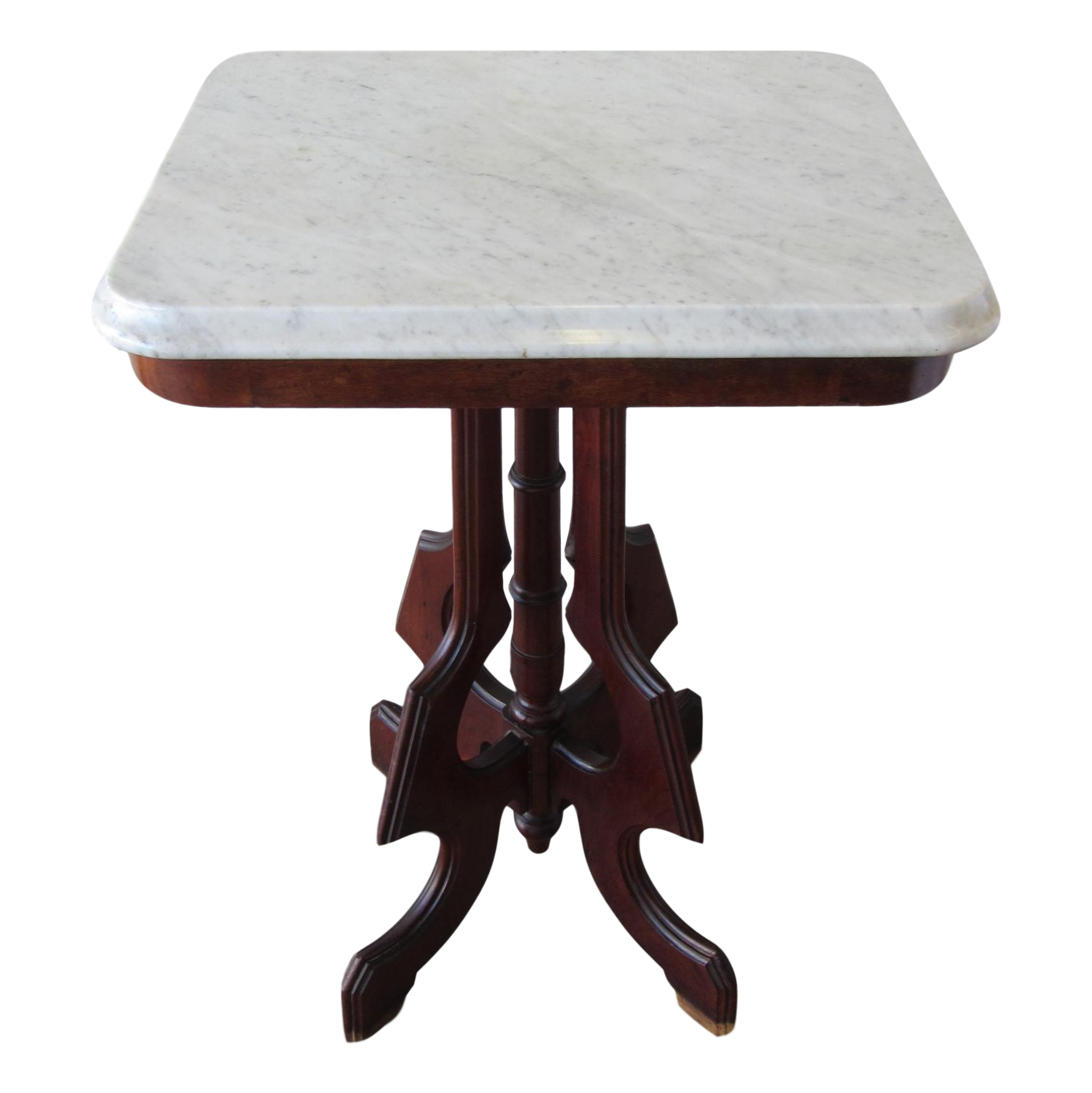 Victorian Mahogany Side Table With White Marble Top Chairish
