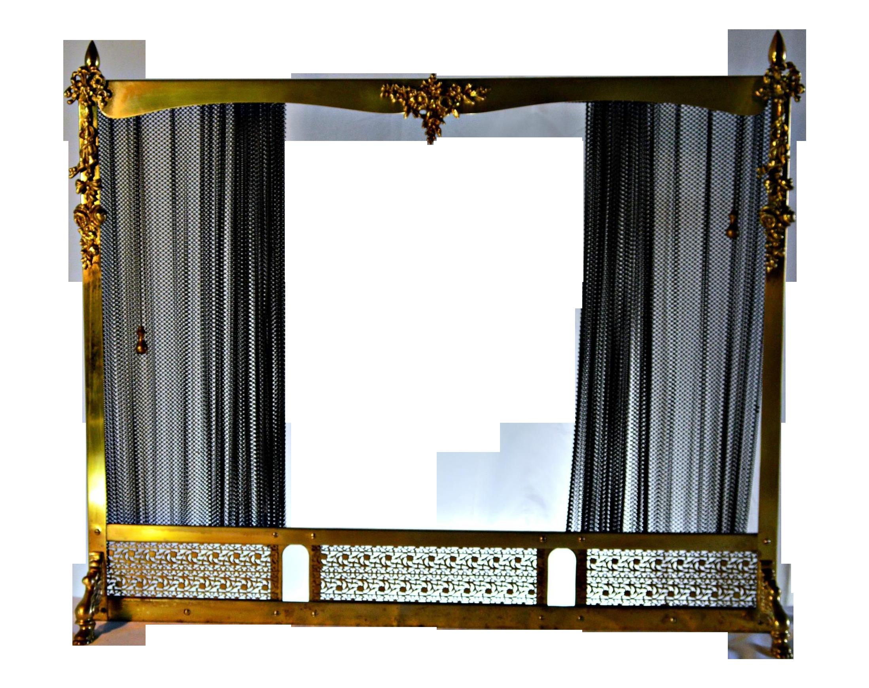 vintage brass sliding iron mesh fireplace screen chairish