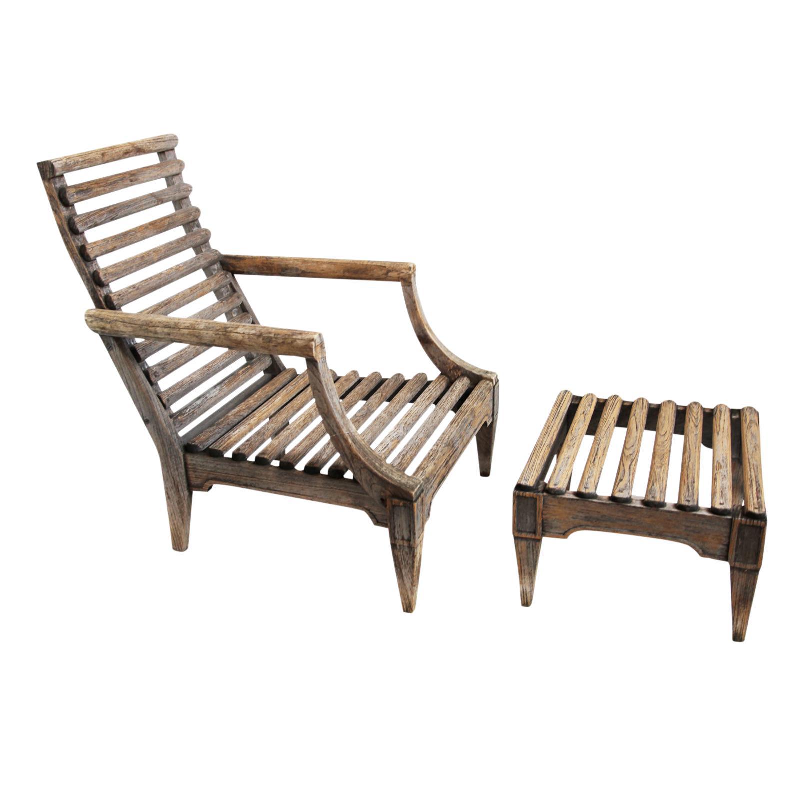 Outdoor Teak Slat Arm Chair With Ottoman