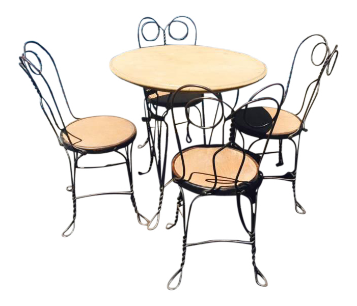 1930 S Ice Cream Parlor Chairs And Table Set Chairish