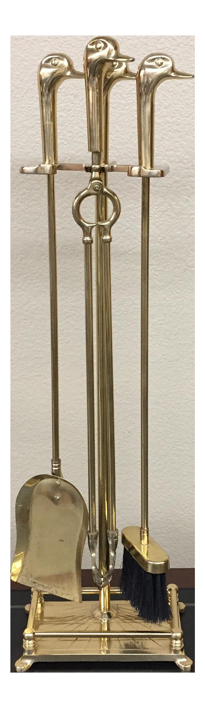 brass duck head fireplace tools set of 4 chairish