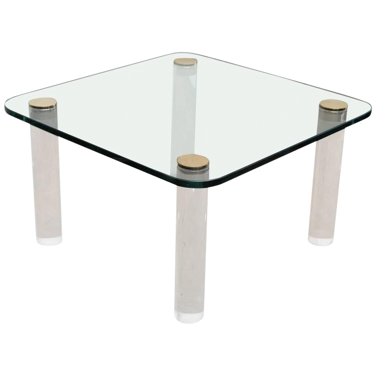 World-Class Vintage Pace Glass, Brass and Lucite Small Coffee or Cocktail  Table | DECASO