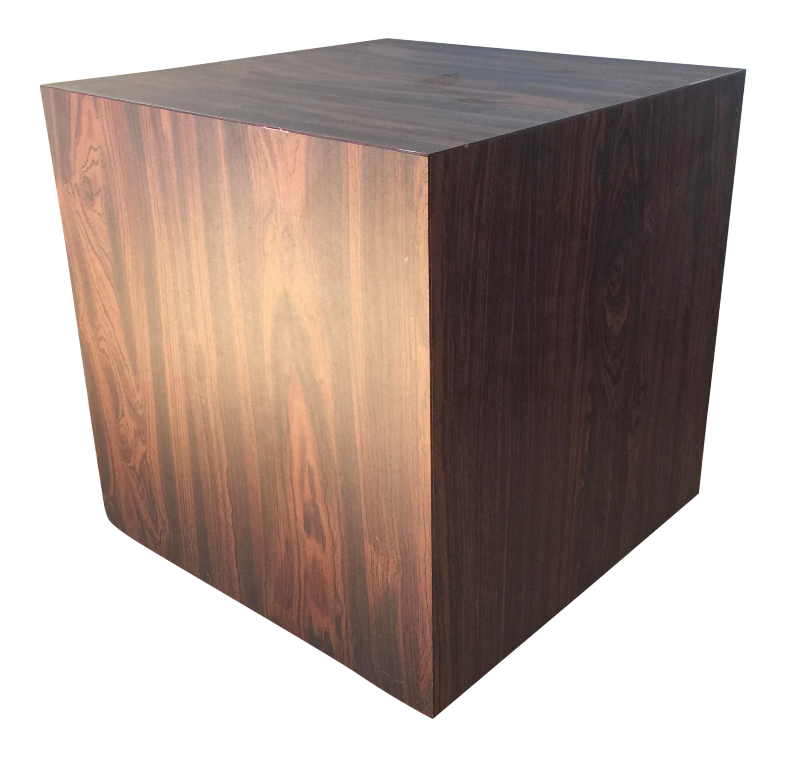 Wood laminate cube side table chairish