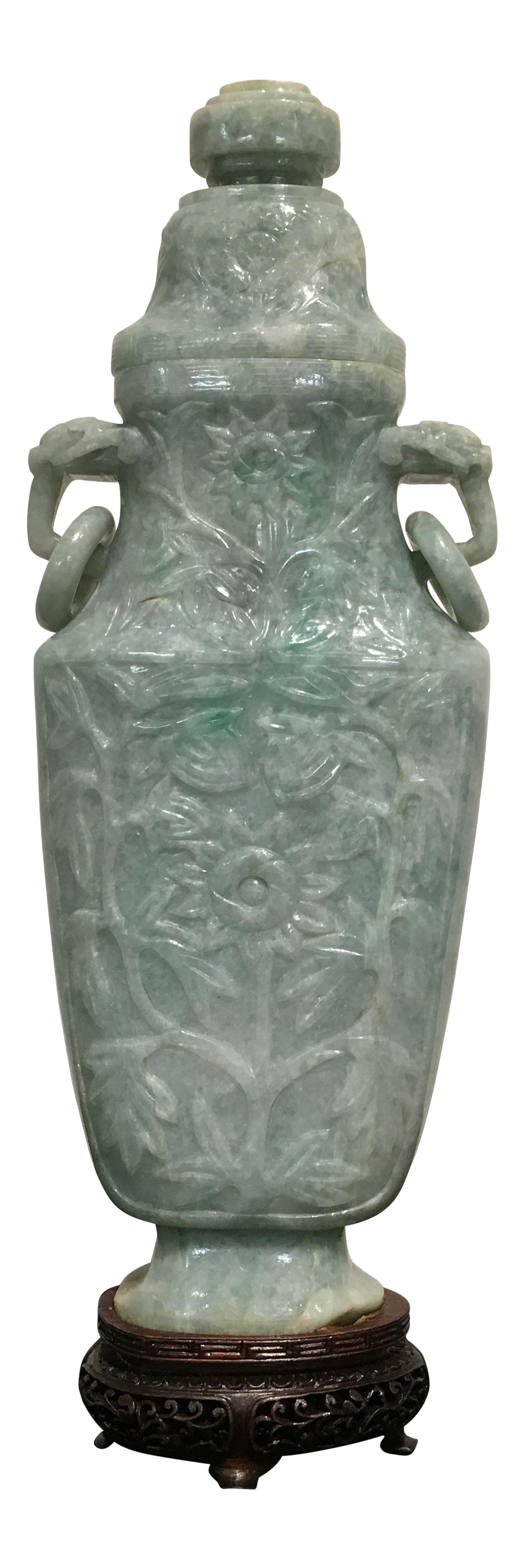 Incredible Chinese Mughal Style Carved Jade Vase And Cover