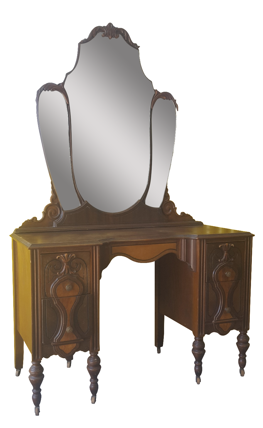 Dresser with mirror and chair - Image Of Antique Art Deco Vanity Dresser W Mirror Chair