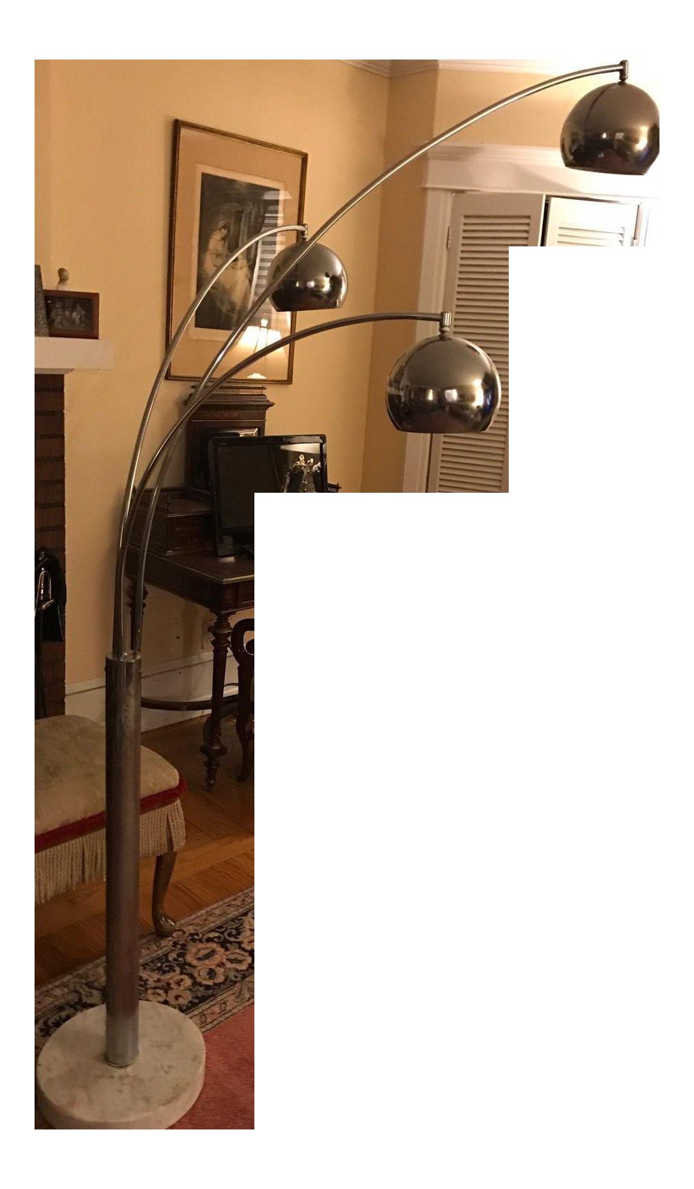 ^ Mid-entury Modern hrome 3 Light Floor Lamp hairish