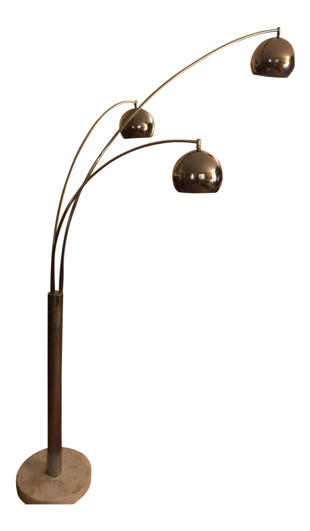 Mid century modern chrome 3 light floor lamp chairish for Tecton chrome floor lamp
