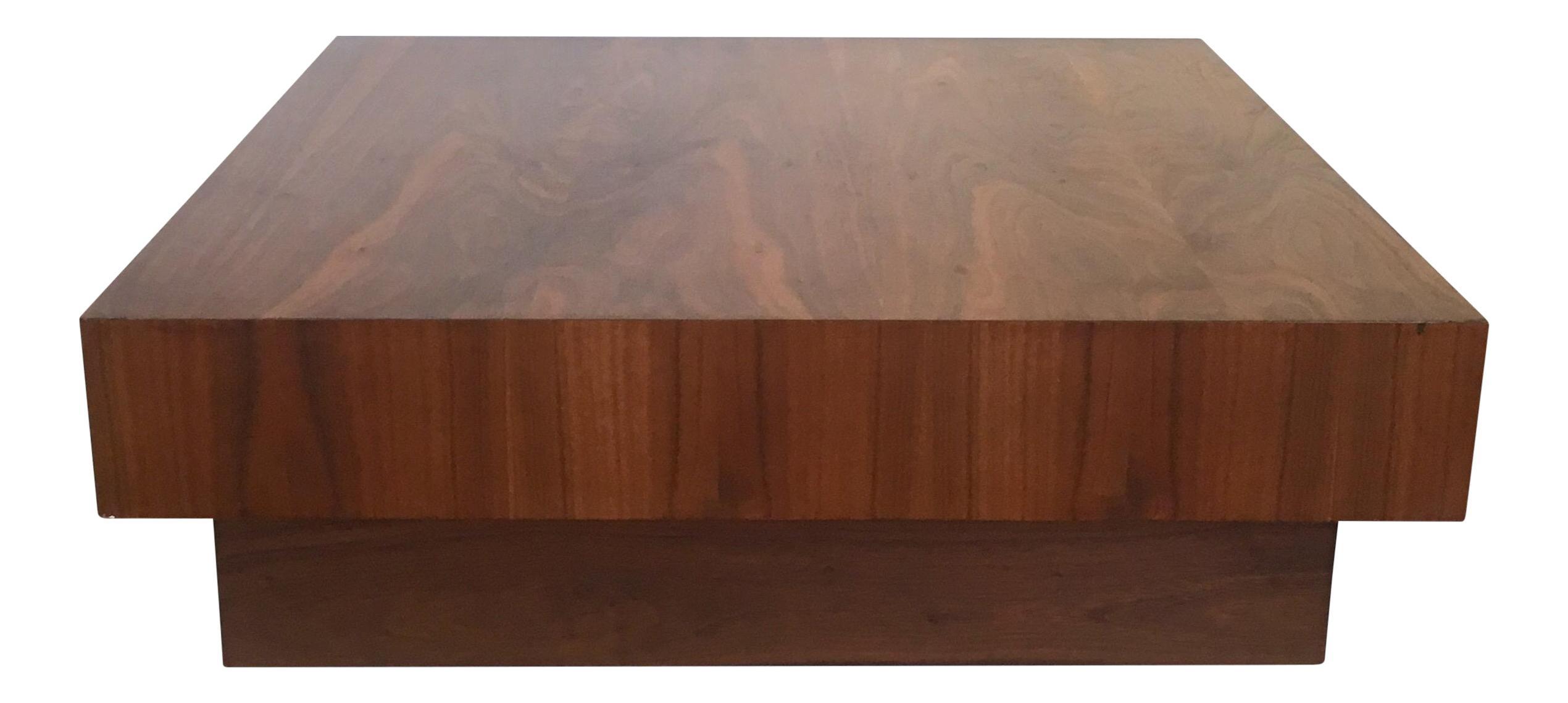Mid Century Walnut Cube Platform Coffee Table