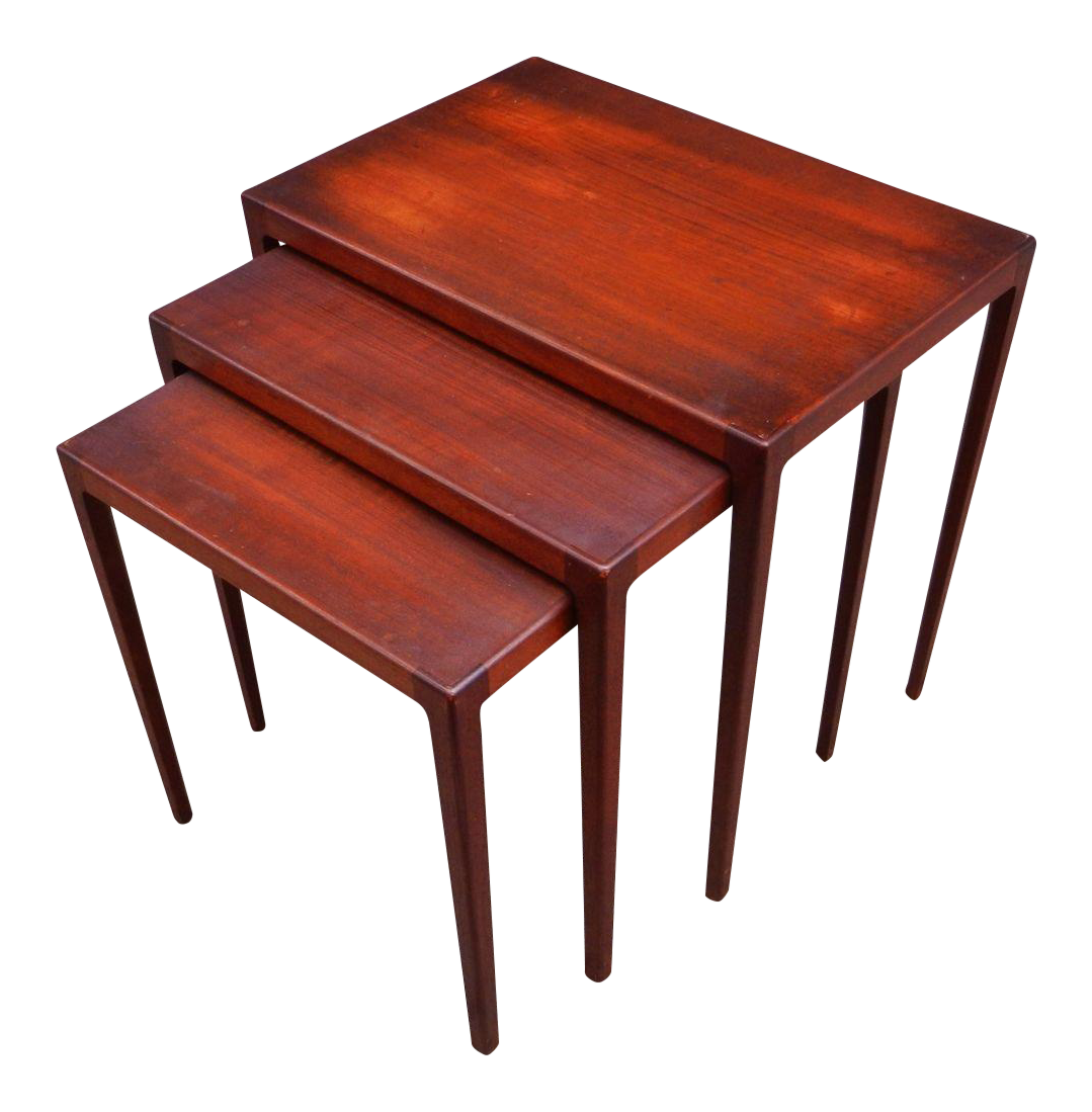 Ludvig Pontoppidan Danish Teak Nesting Tables Set Of 3 Chairish. Full resolution‎  image, nominally Width 1079 Height 1099 pixels, image with #AF3A1C.