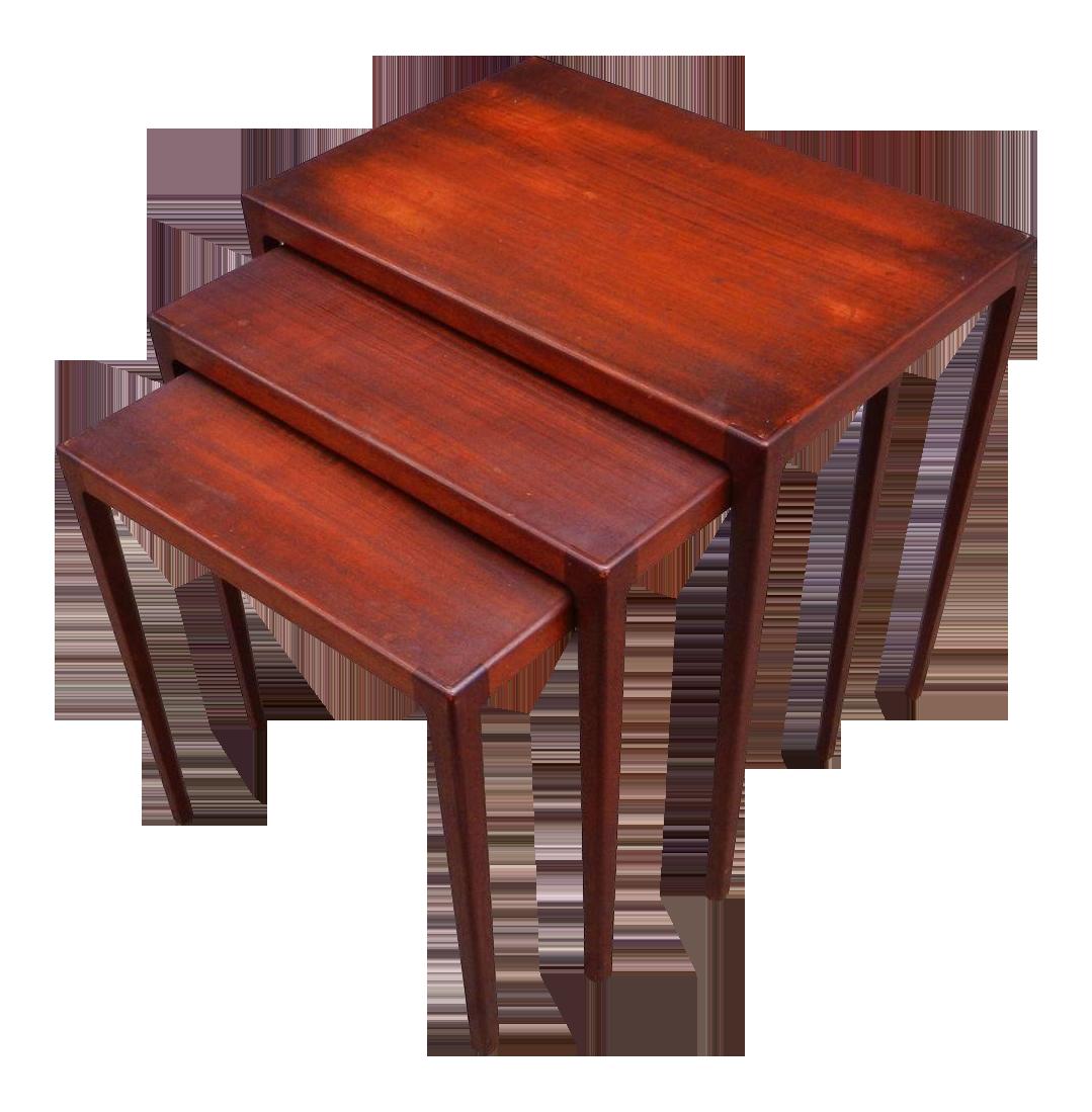 Ludvig Pontoppidan Danish Teak Nesting Tables Set Of 3 Chairish. Full resolution  image, nominally Width 1079 Height 1099 pixels, image with #AF3A1C.