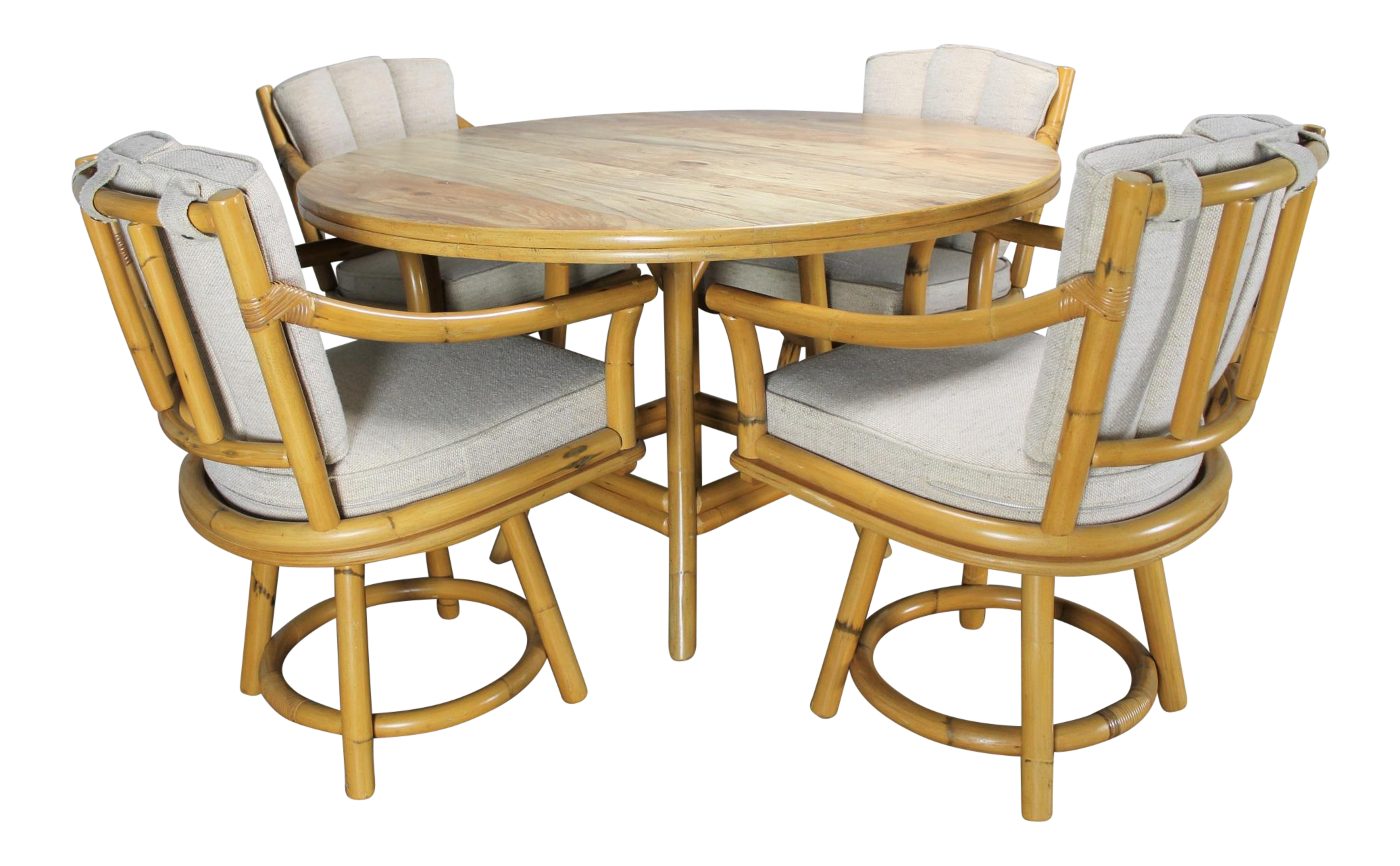 Mid Century Ficks Reed Co Round Rattan Game Table Chairs on Ficks Reed Rattan Coffee Table