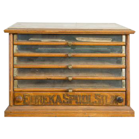 Antique Victorian Eureka Silk Spool Cabinet Chairish