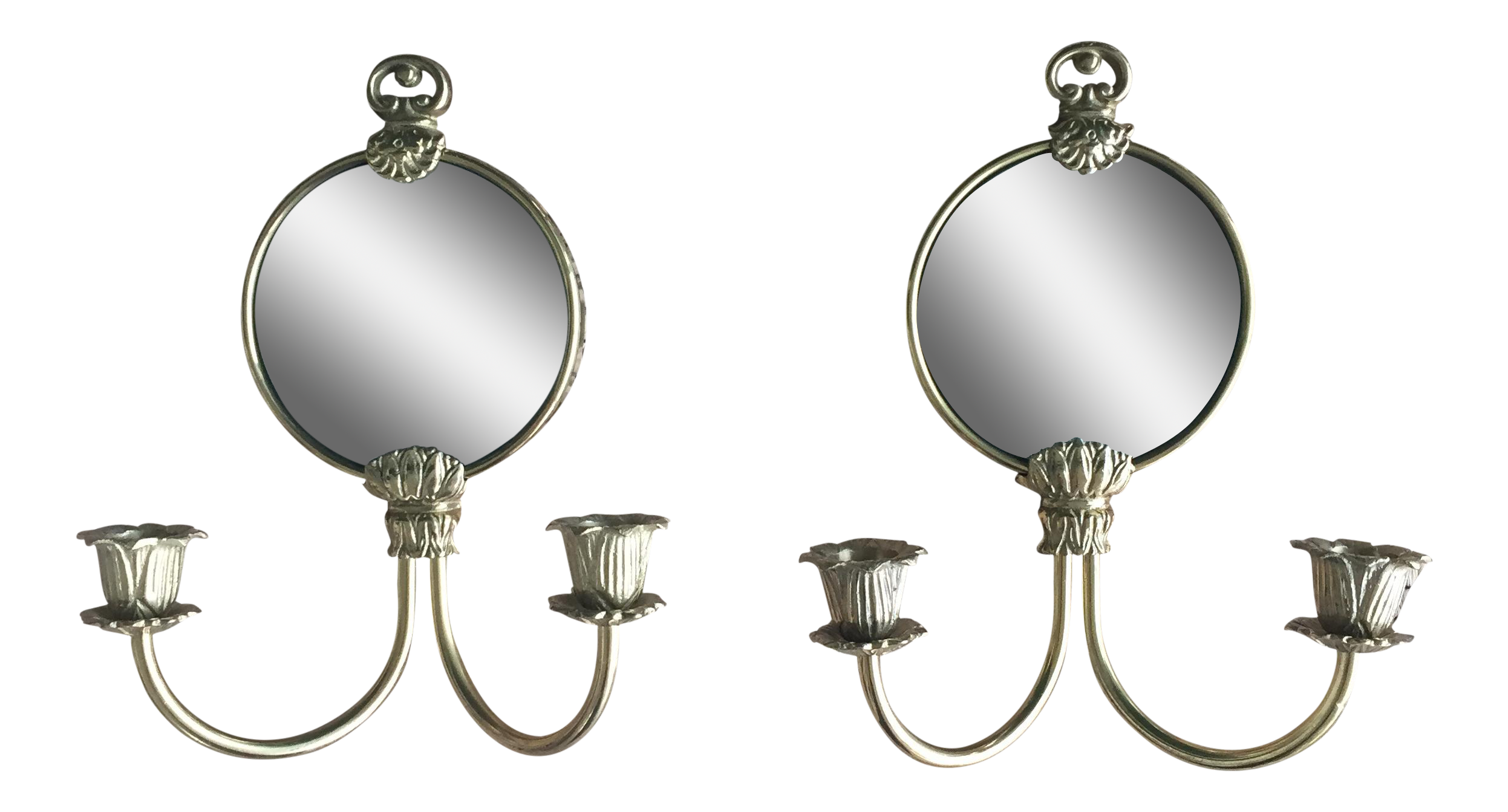 hollywood regency brass mirror wall sconces a pair chairish. Black Bedroom Furniture Sets. Home Design Ideas