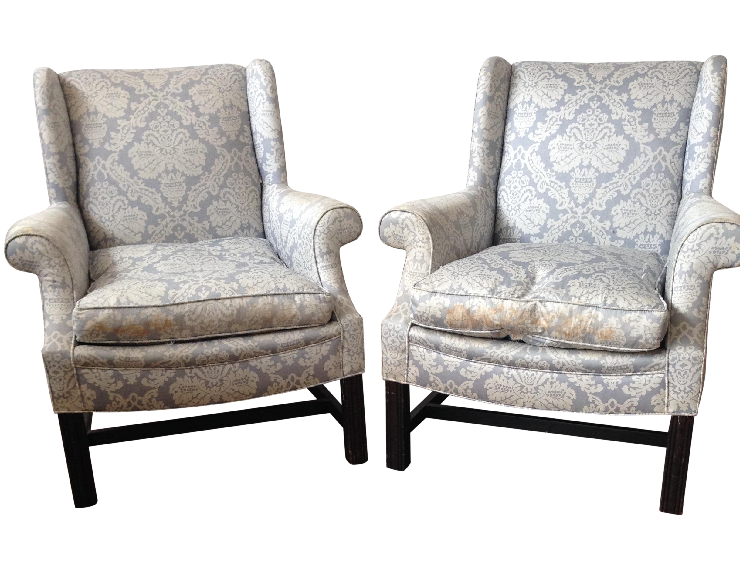 Light Blue Damask Wingback Chairs A Pair Chairish