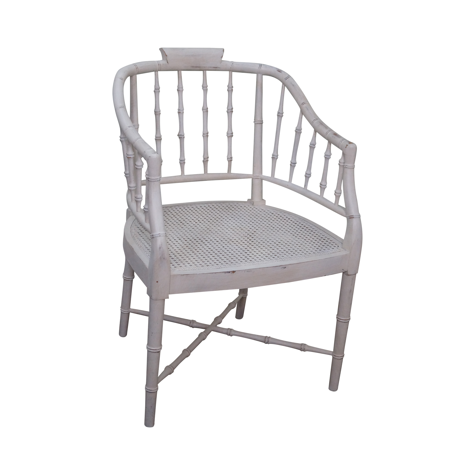 Bamboo Chair With Arms: Century White Faux Bamboo Barrel Back Arm Chair