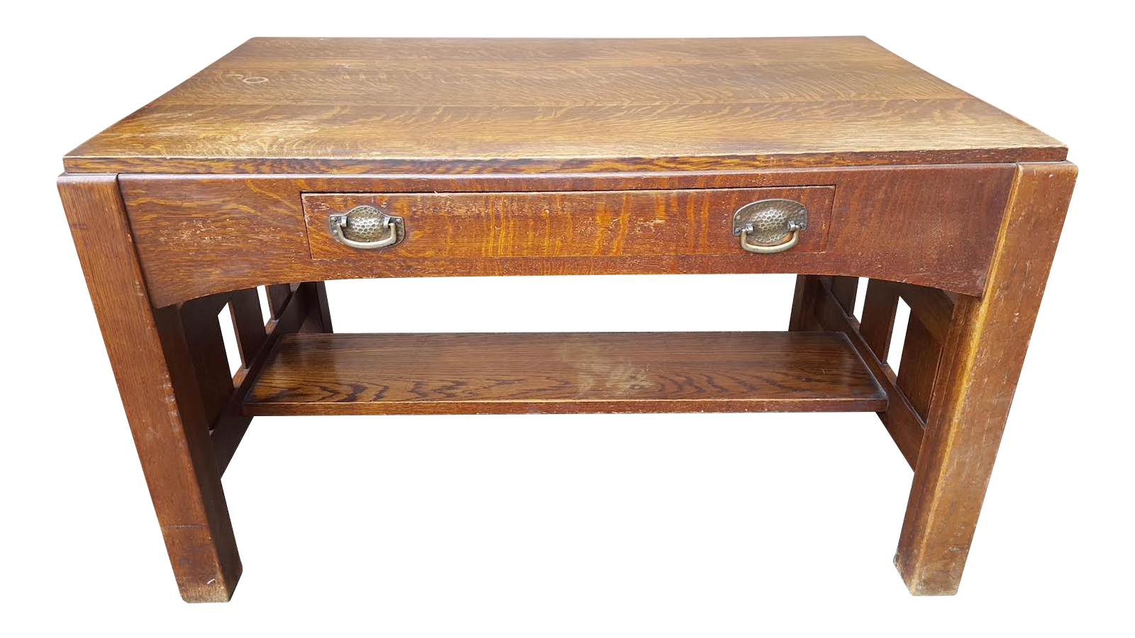 Mission oak arts crafts library table desk c1900 chairish geotapseo Gallery