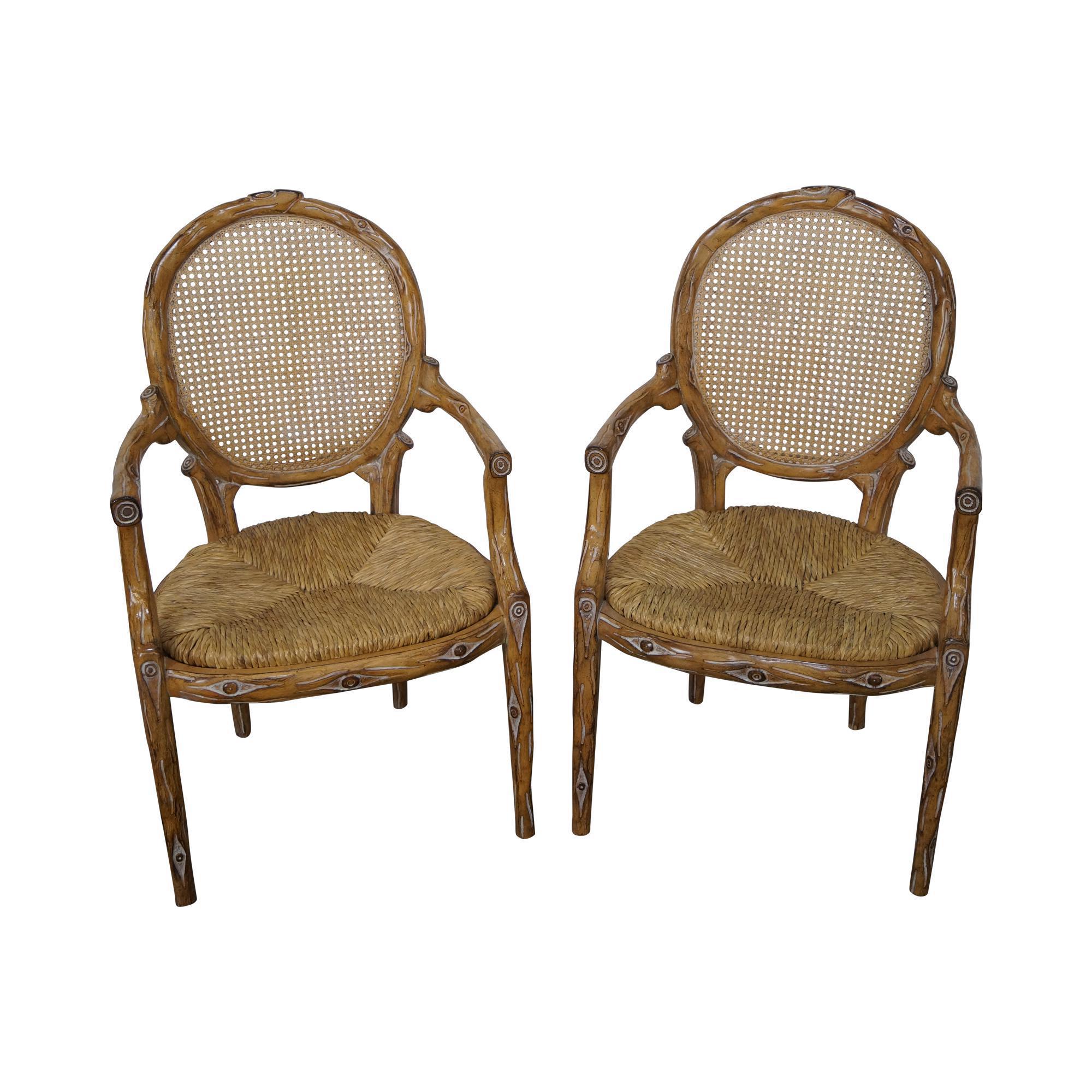 Rush Seat Cane Back Arm Chairs A Pair Chairish