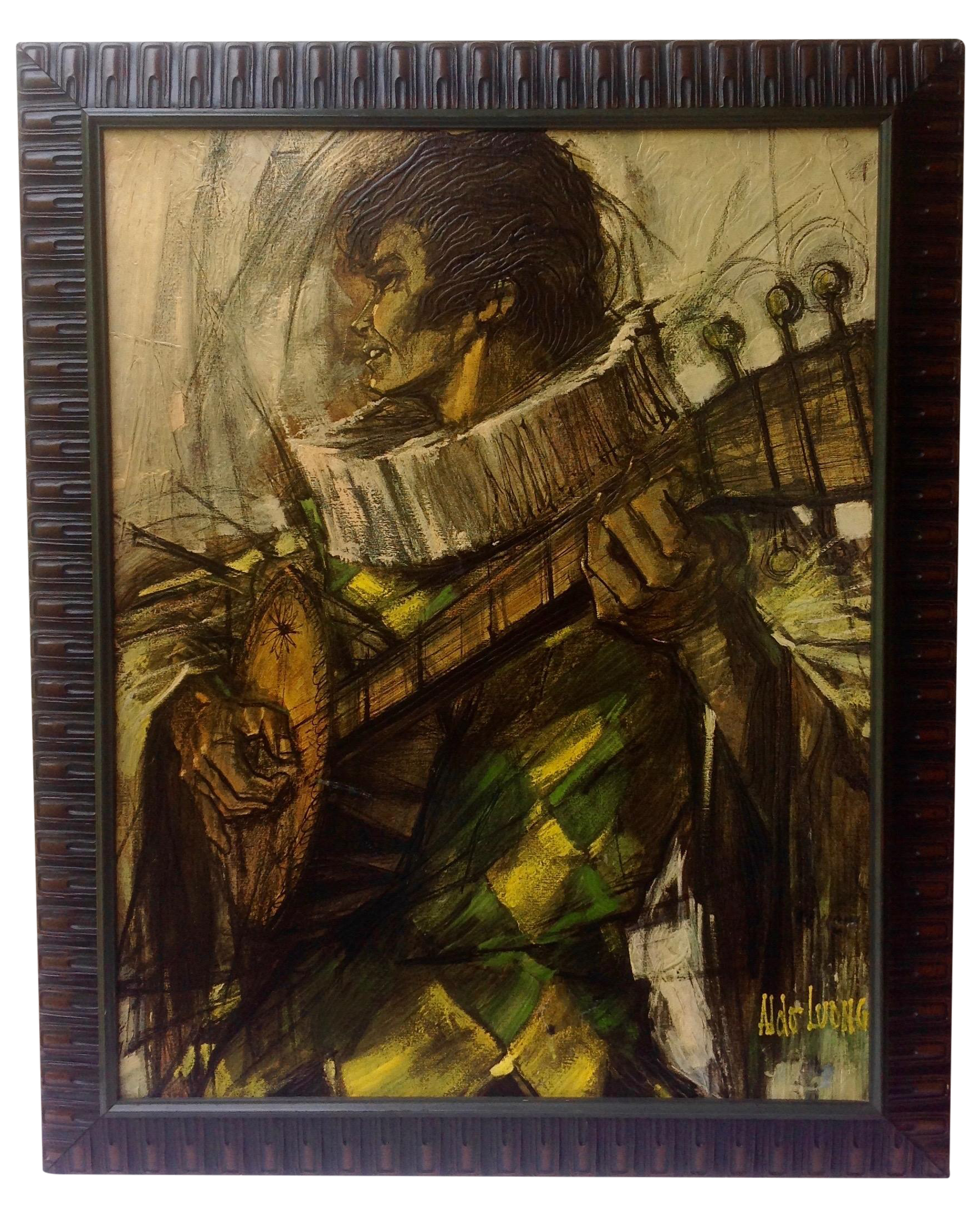 Vintage Man Playing Guitar Textured Print Chairish