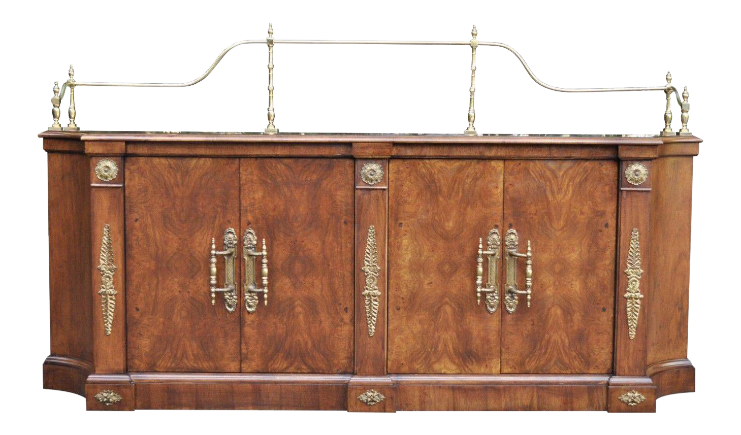 Vintage Century French Empire Neoclassical Burl Wood Credenza Sideboard  Cabinet | Chairish