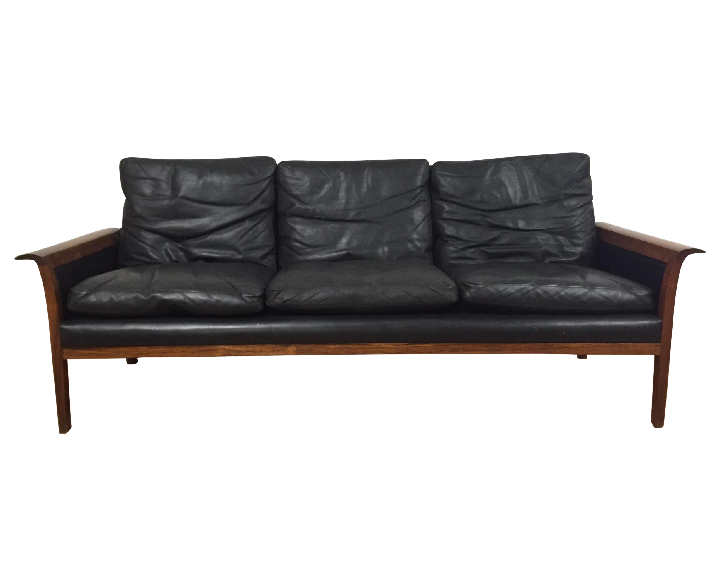 Antique black leather chairs - Hans Olsen For Mobler Vintage Black Leather Sofa Chairish