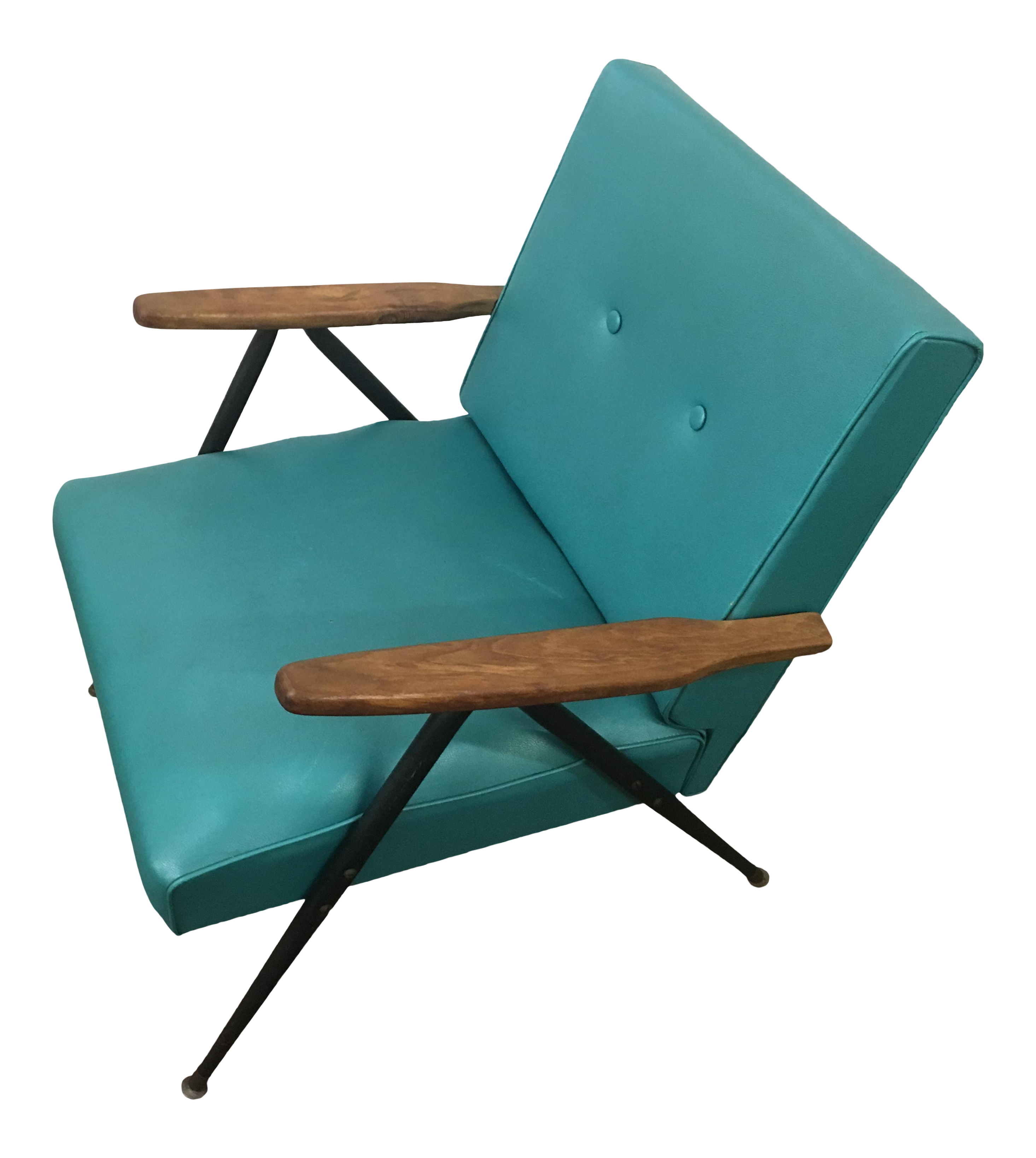 1950s Teal Vinyl Lounge Chair