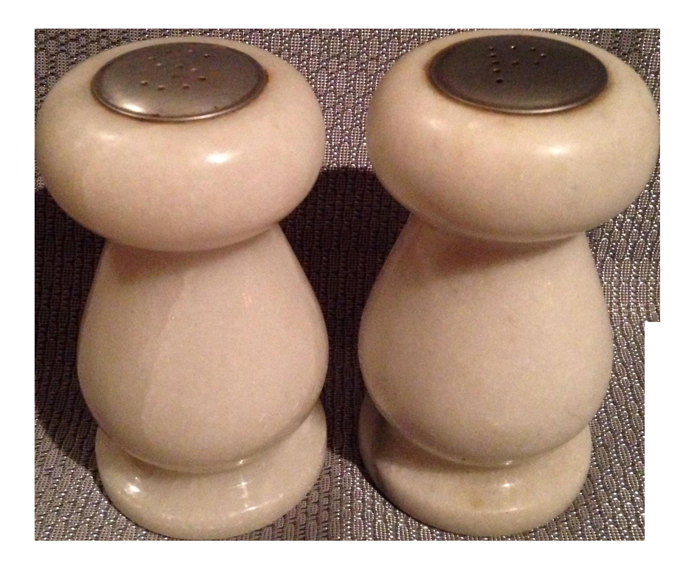 Alabaster Salt Pepper Shakers A Pair Chairish
