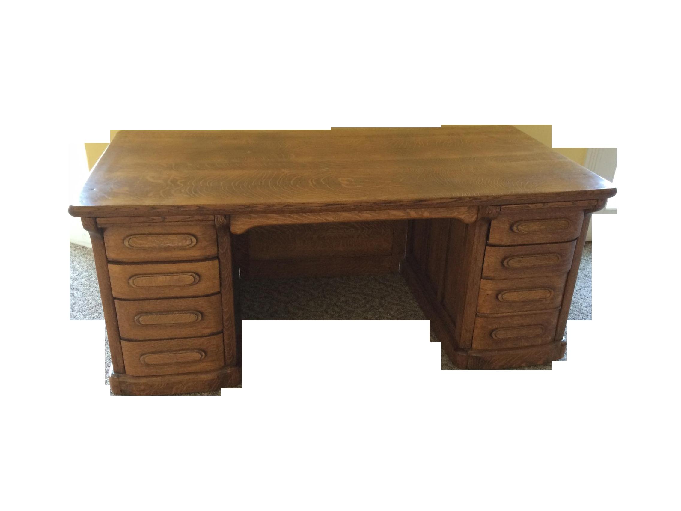 Vintage Tiger Oak Leopold Executive Desk
