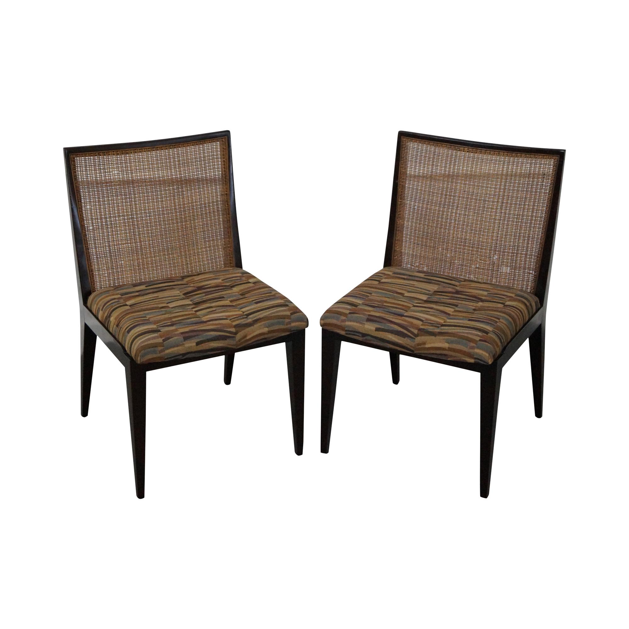 Dunbar Mid Century Modern Cane Back Chairs Pair