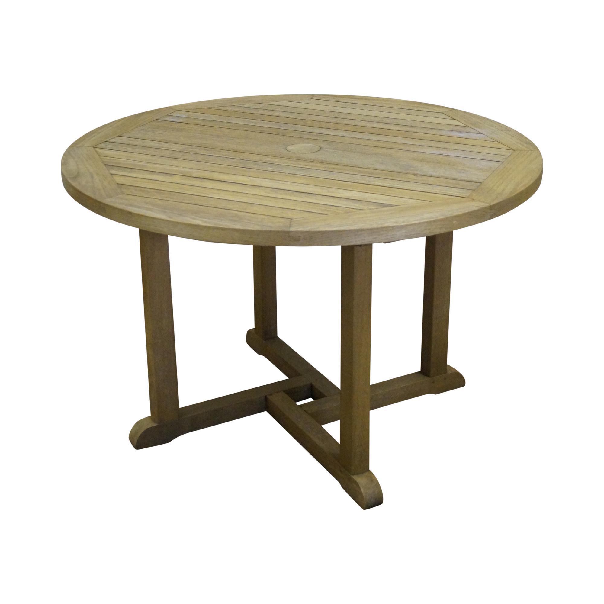 Barlow tyrie teak outdoor waveney round dining table for Round teak outdoor table