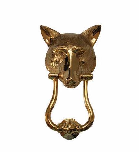 Solid brass english fox head door knocker chairish - Fox head door knocker ...
