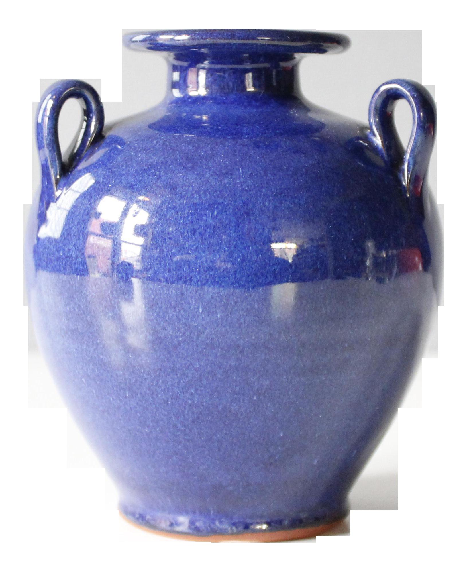 Small Crete Pottery Urn Vase Blue Ceramic Mid Century Greek Grecian |  Chairish