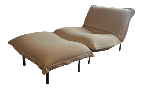 ligne roset calin chaise ottoman set chairish. Black Bedroom Furniture Sets. Home Design Ideas