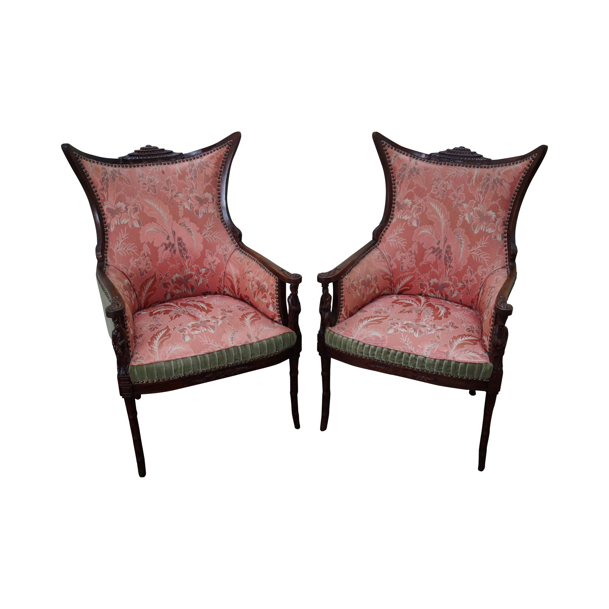 Vintage Chinese Chippendale Style Wing Chairs Chairish