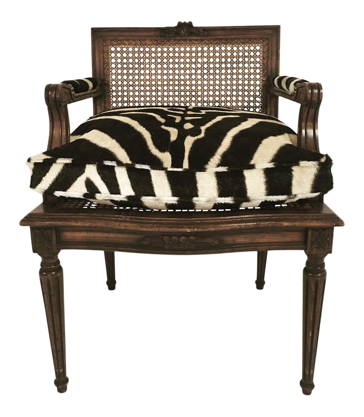 French Louis Xvi Style Boudoir Chair With Cane Amp Custom