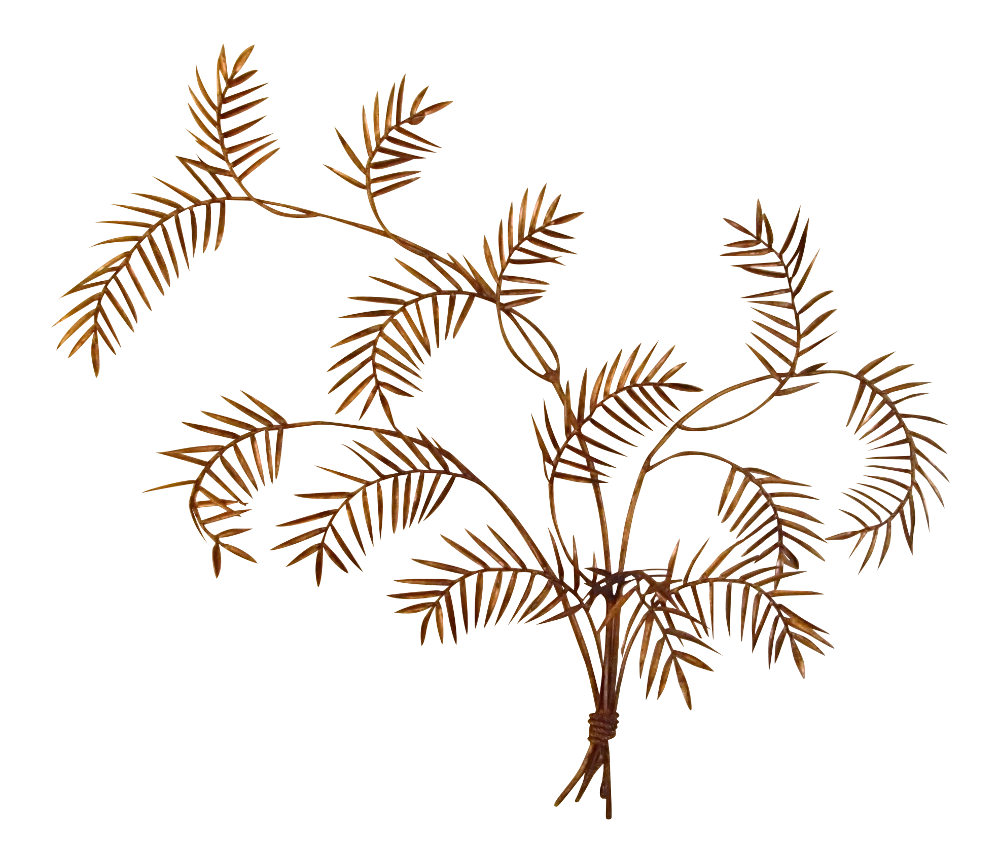 Gold Metal Bamboo Leaf Bouquet Wall Decor Chairish