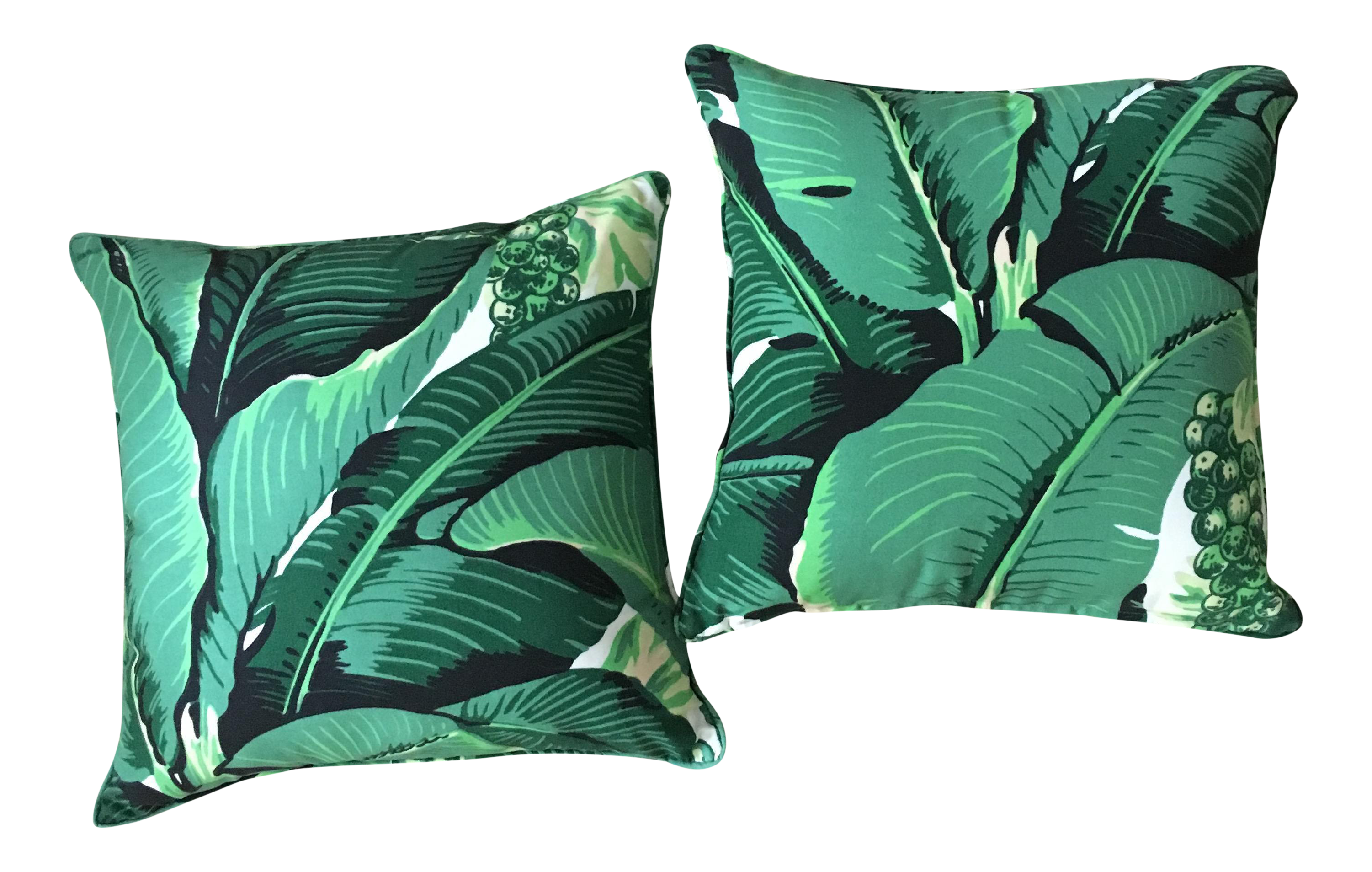 "Dorothy Draper ""Brazilliance"" Banana Leaf Accent Pillows A Pair"