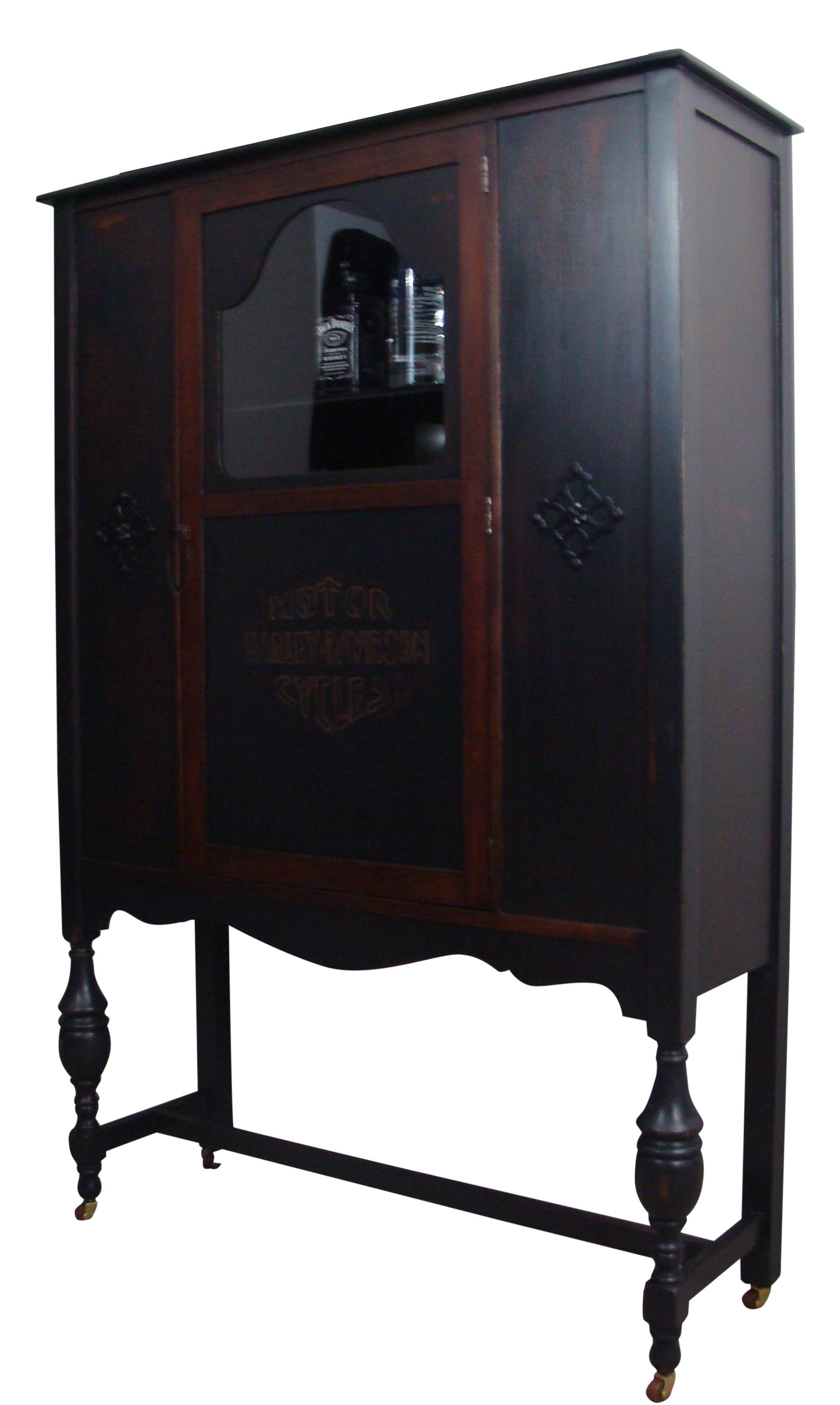 Antique Ebonized Wood Lock Liquor Cabinet Chairish