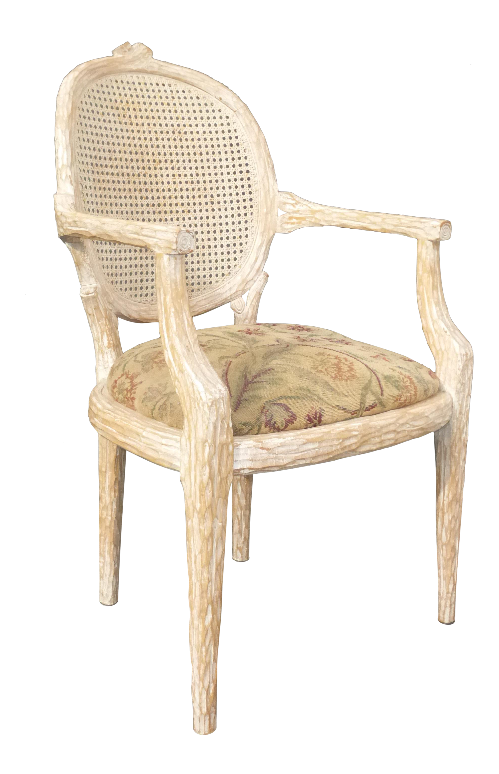 French Cane Back Carved Wood Accent Arm Chair Chairish