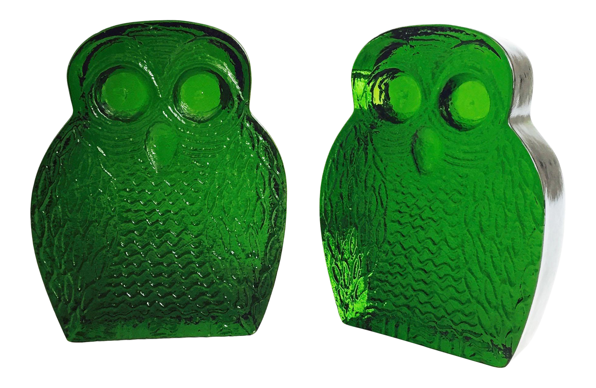 Vintage Green Glass Owl Bookends by Blenko | Chairish