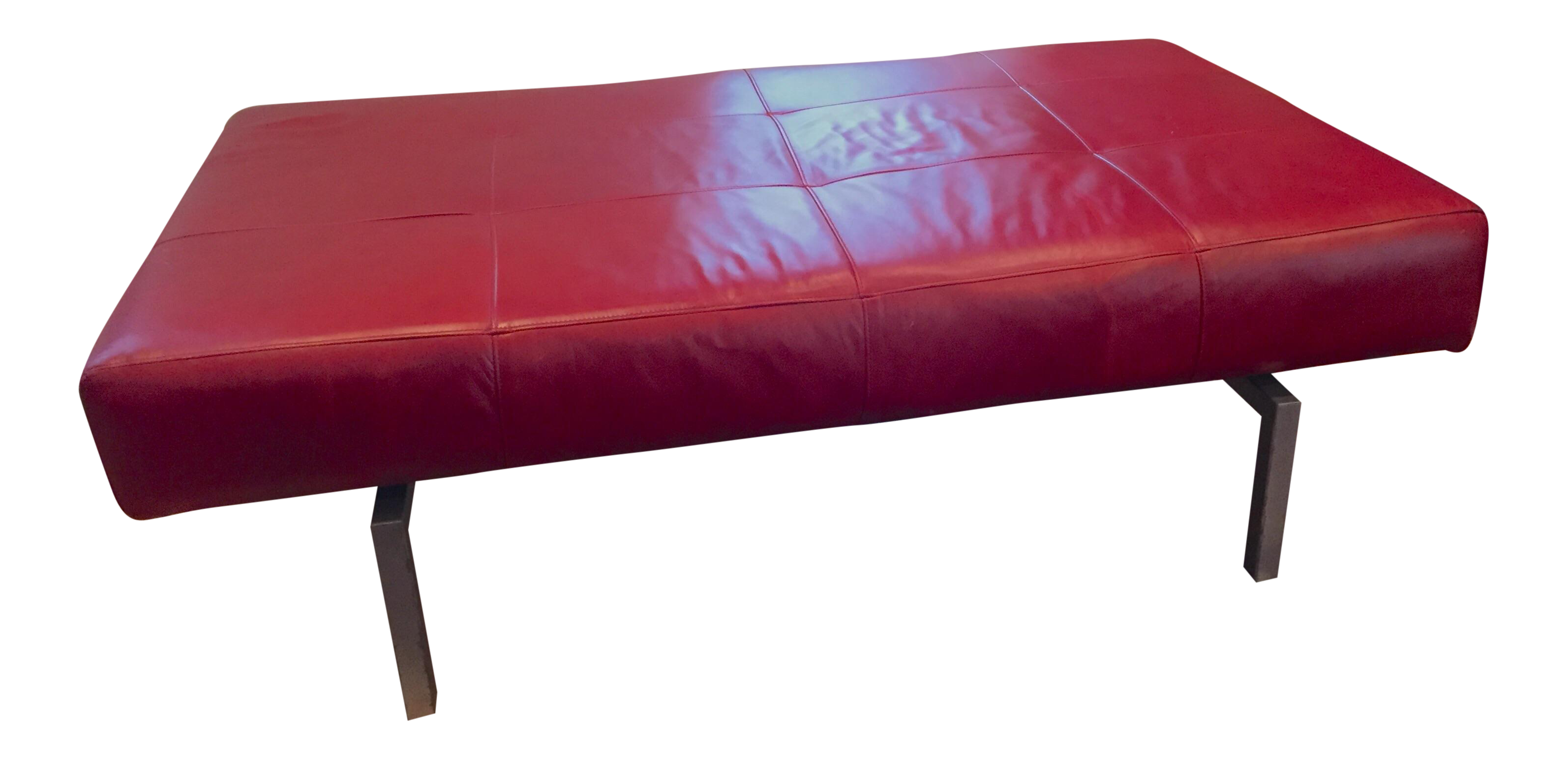 Modern Quilted Red Leather Bench Chairish
