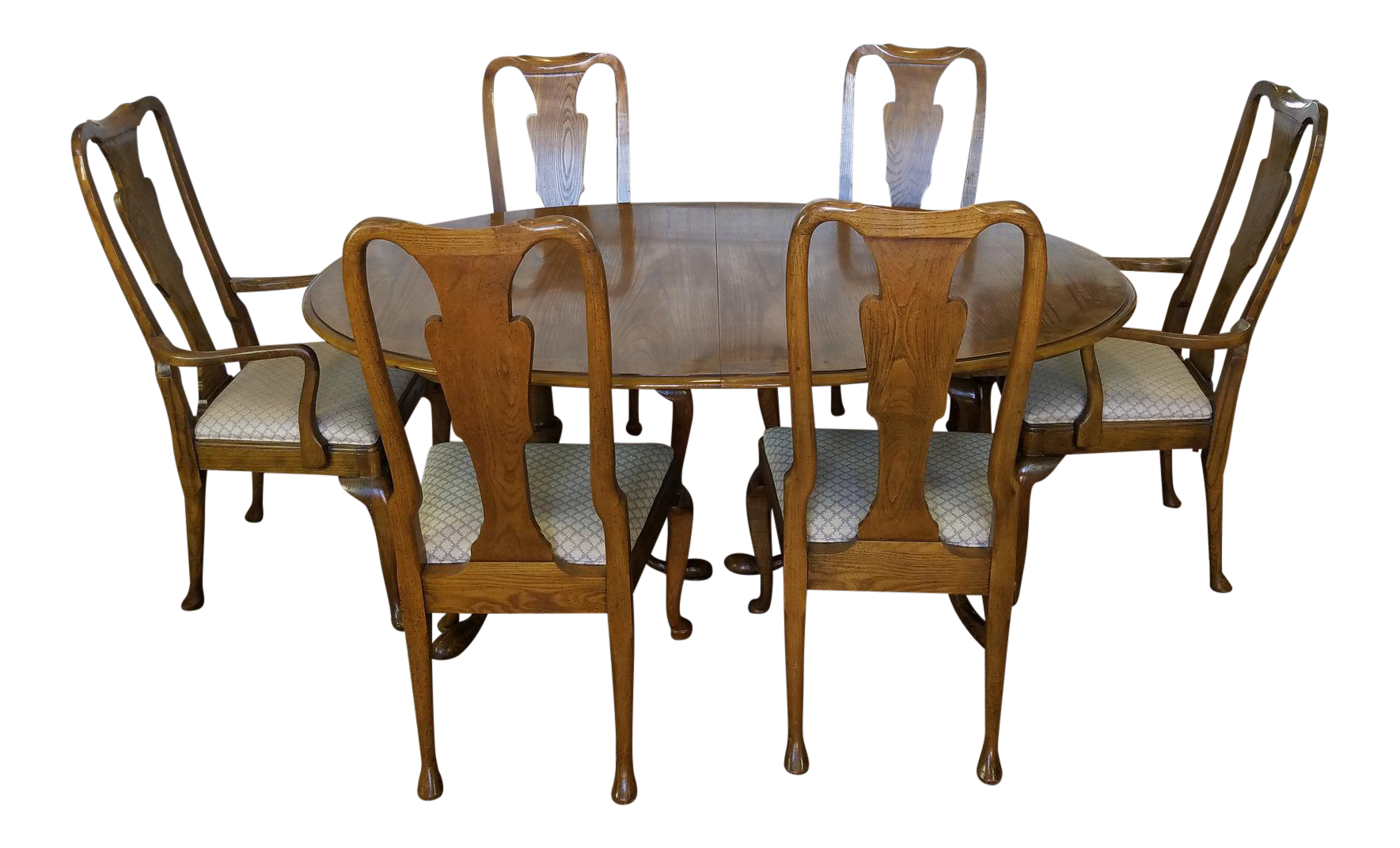 Baker Furniture Banded Oak Queen Anne Dining Set 1980s | Chairish