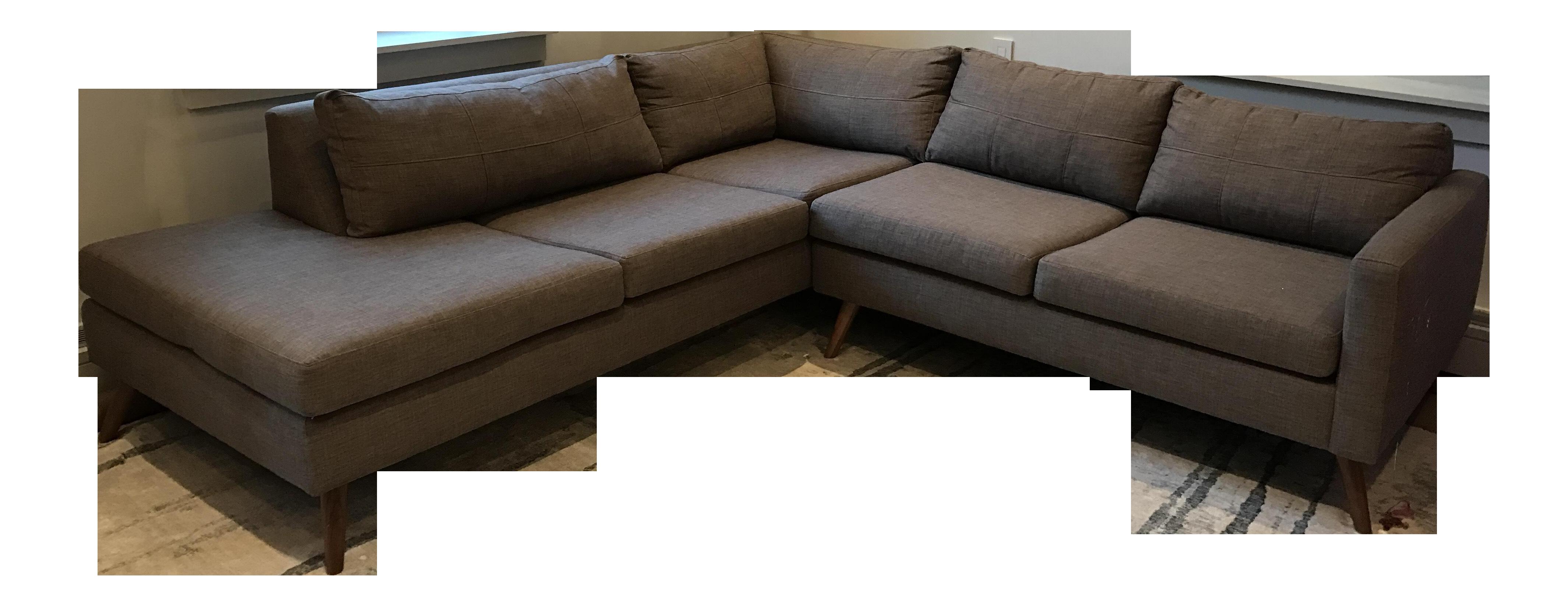 true modern dane sectional sofa with bumper  chairish - image of true modern dane sectional sofa with bumper