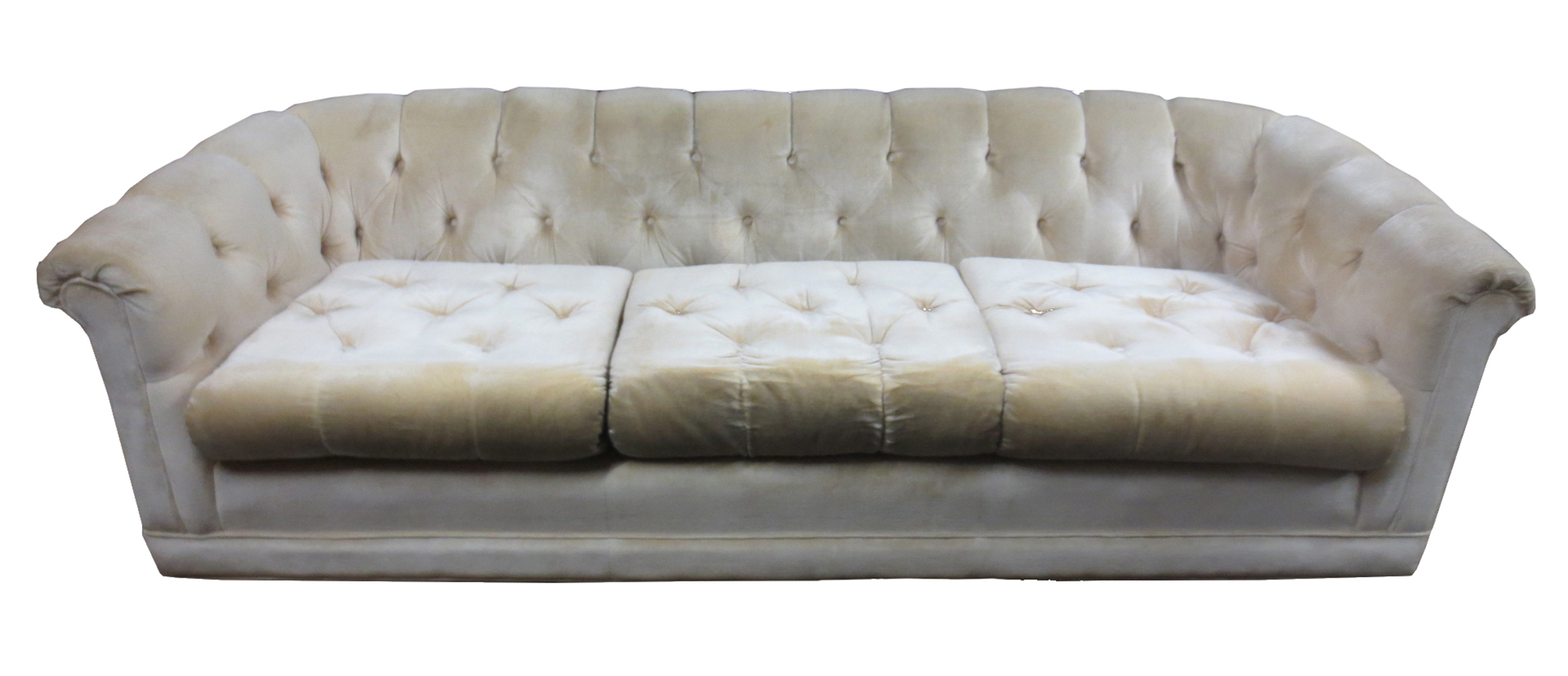 Plush Sofa Hollywood Regency Tufted Plush Sofa Chairish
