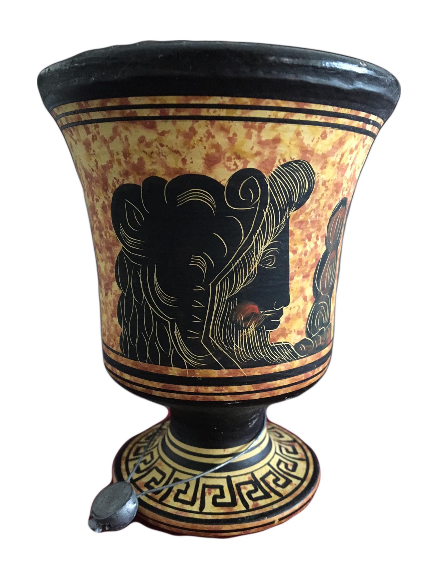 Small Black Amp Yellow Greek Signed Vase Chairish