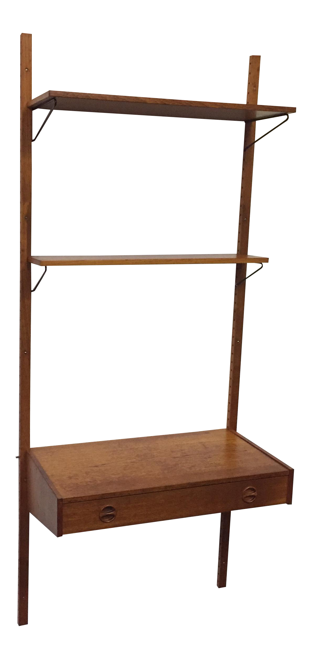 Danish Teak Wall Mount Writing Desk With Shelves Chairish