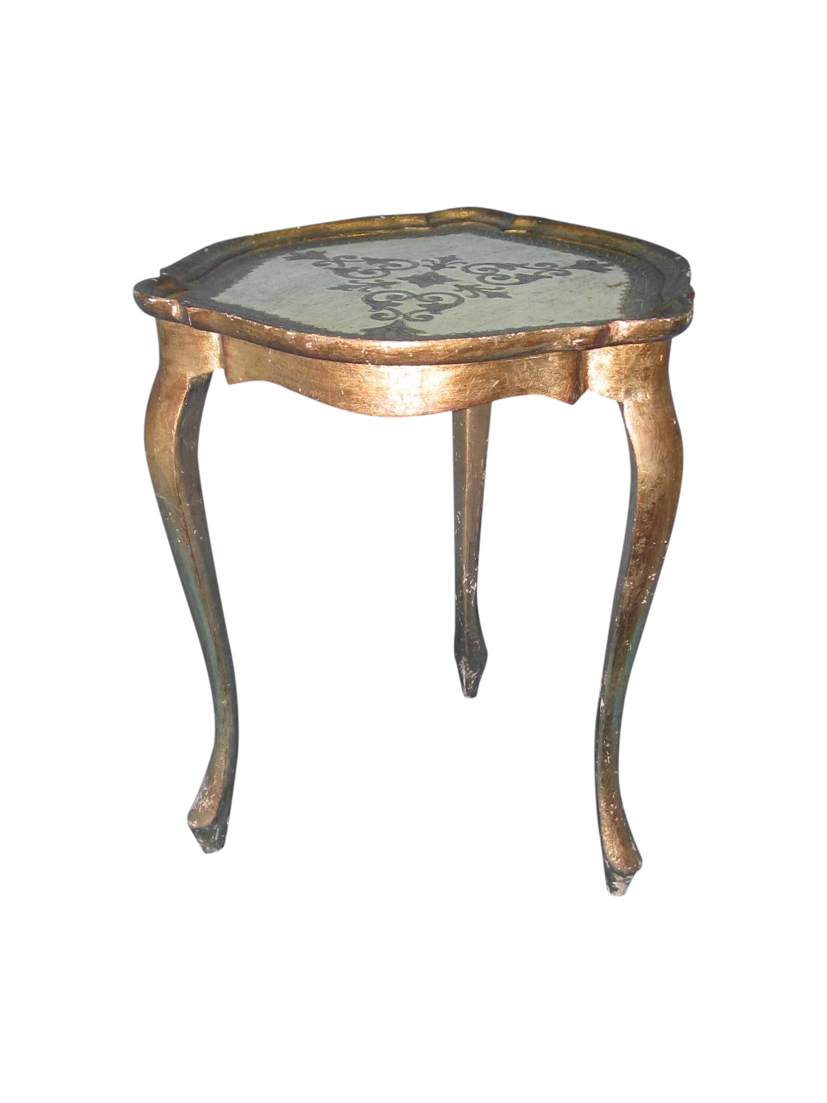 White gold florentine small side table chairish for Small gold side table