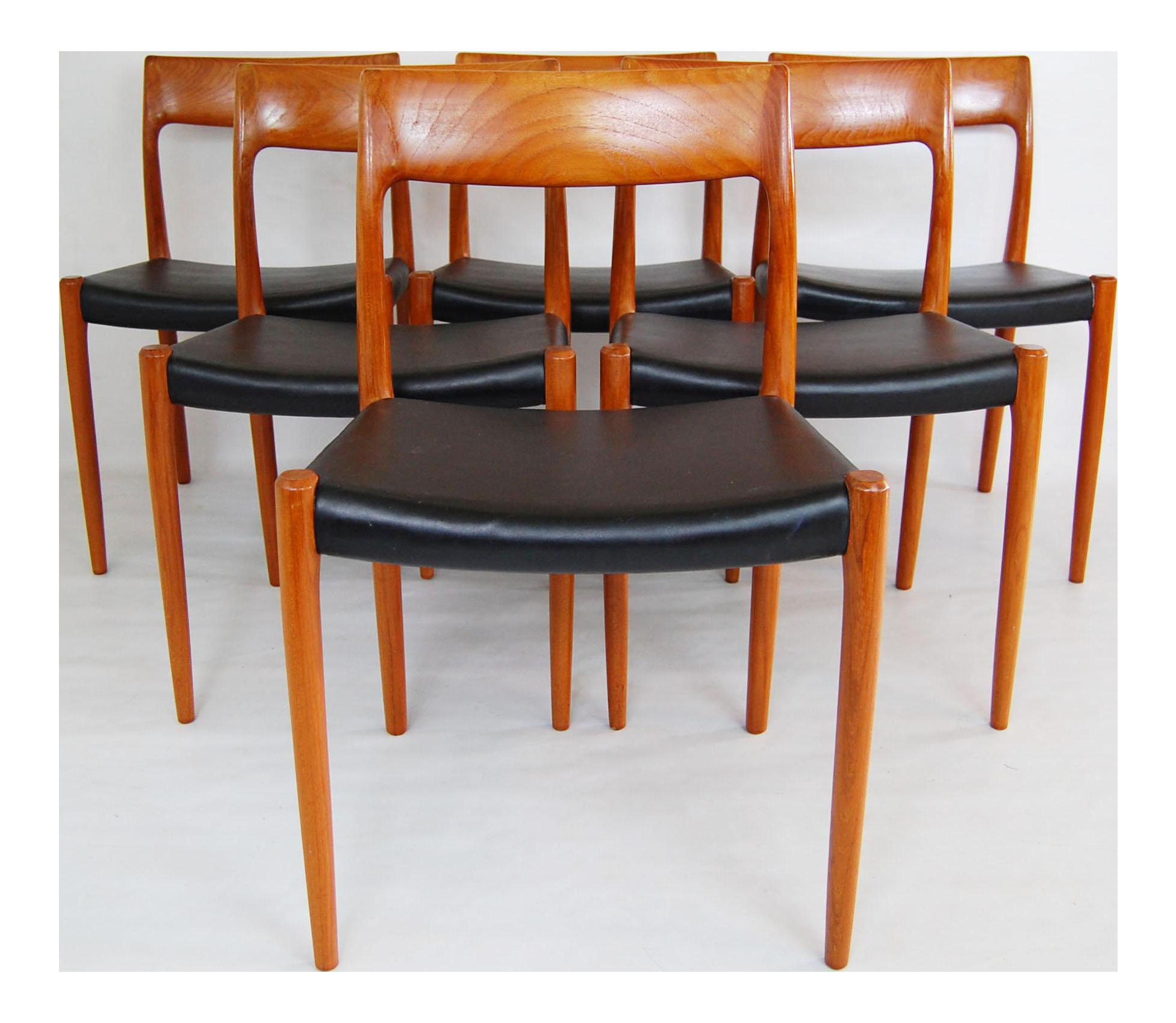 Vintage Moller Dining Chairs ~ Danish modern j l moller model teak dining chairs set